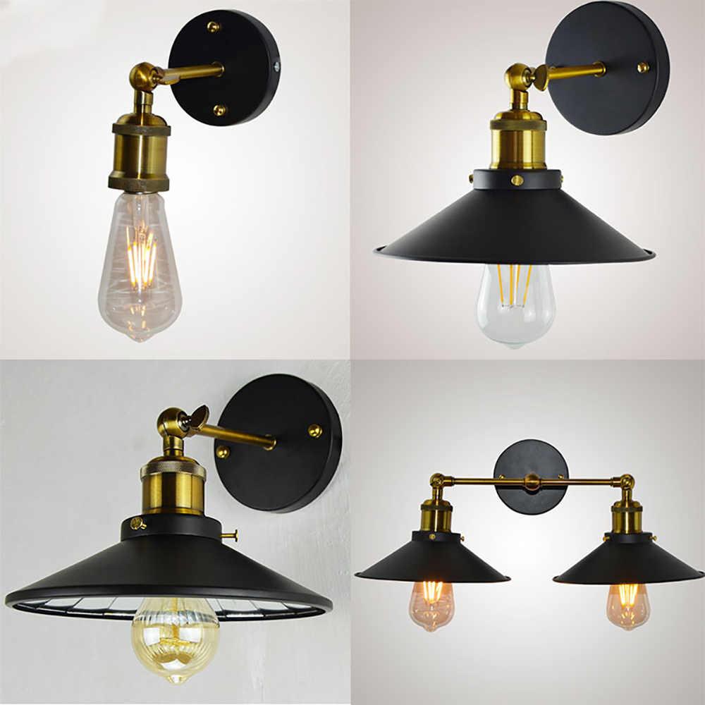 Vintage duvar lambası siyah E27 Retro aplikleri duvar lambası endüstriyel demir duvara monte lambalar iç mekan aydınlatması 1 adet