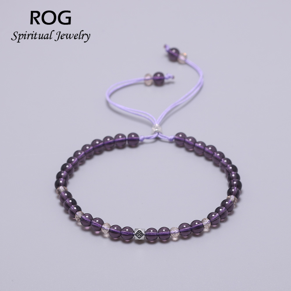 Natural Amethyst Beads Bracelet For Women Lace-up Adjustable 4mm Small Yoga Crystal Beads Stretch Bracelet Pulseira Masculina