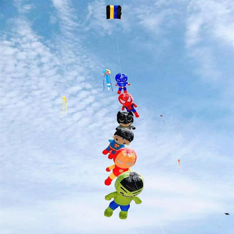 Livraison gratuite spiderman cerf-volant super-héros grand cerf-volant doux pendentif ripstop nylon tissu cerf-volant marche dans le ciel avenger