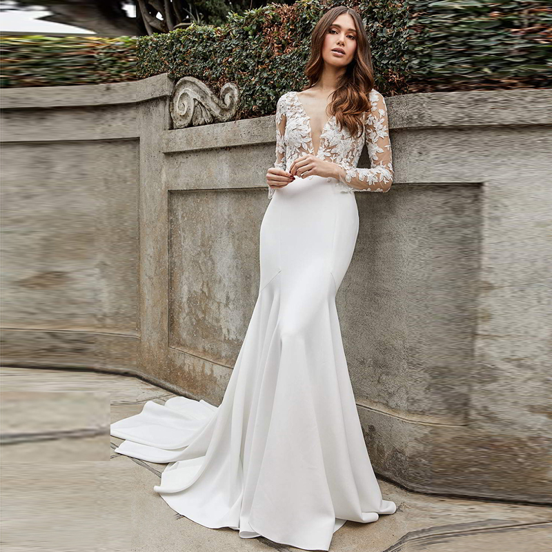 Verngo Mermaid Wedding Dress Long Sleeves Elegant Wedding Gowns Backless Lace Appliques Bride Dress Vestidos De Novia 2020