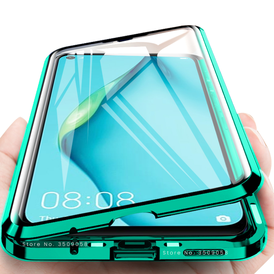 magnetic flip case for huawei p40 lite case 360° full protective bumper double-side glass cover for huawei p 40 lite case fundas