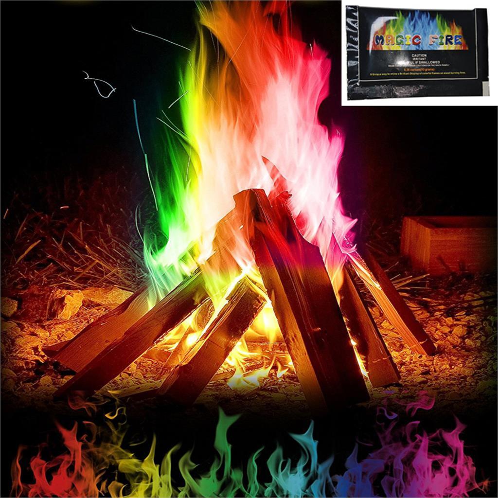 10g 15g 25g Mystical Fire Magic Tricks Coloured Flames Bonfire Sachets Fireplace Pit Patio Color Toy Magicians Pyrotechnics