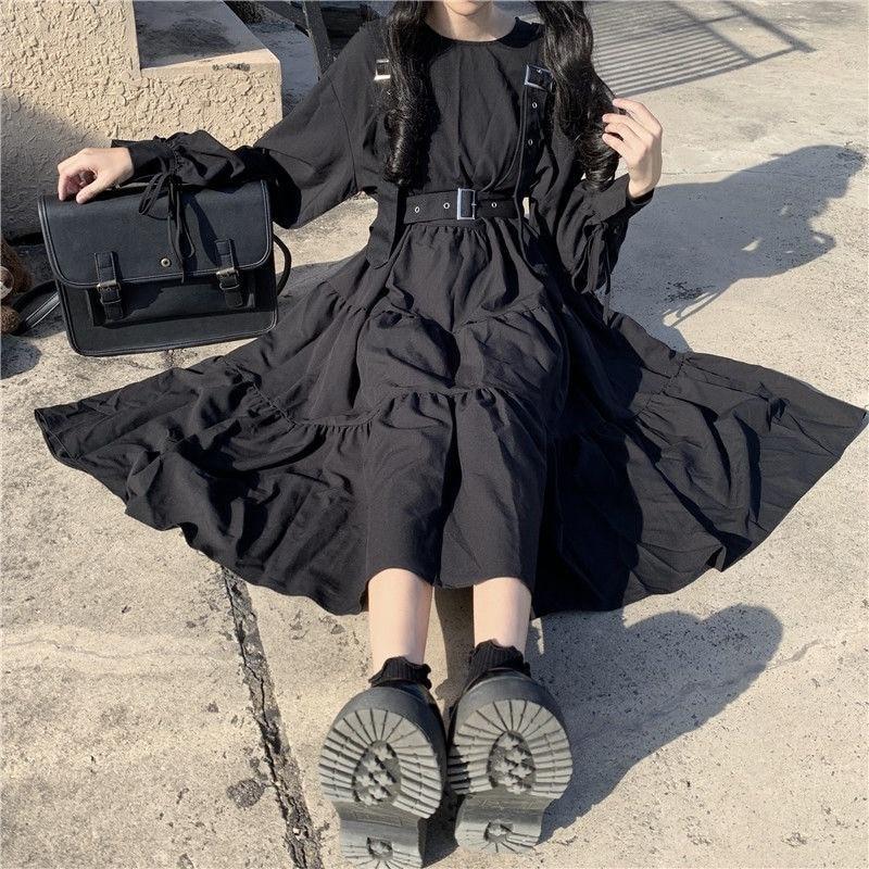 QWEEK Gothic Stil Kleid Frauen Harajuku Gothic Lolita Kawaii Kleid Punk Nette Langarm Schwarz Midi Kleid 2021 Emo Mall goth