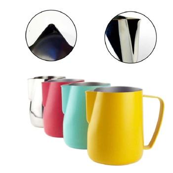 0 3-0 6L dzbanek do mleka dzbanek do spieniania ze stali nierdzewnej Pull Flower Cup spieniacz do mleka Latte Art spienione mleko narzędzie do kawy tanie i dobre opinie STAINLESS STEEL