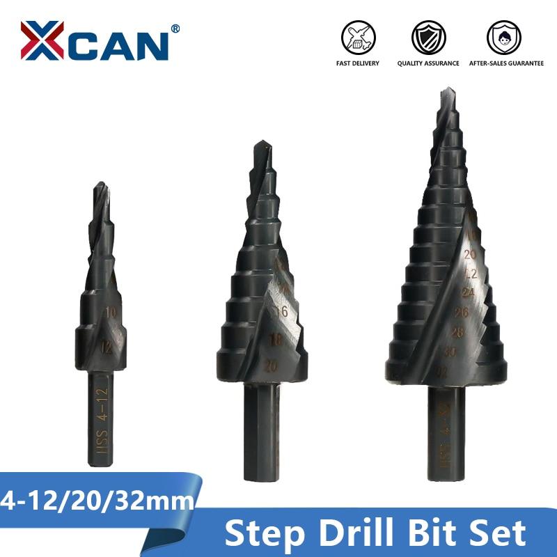 XCAN HSS Step Drill Bit Set 4-12/20-32mm Nirtird Coated Spiral Groove Wood Metal Hole Cutter Step Cone Drill Bit