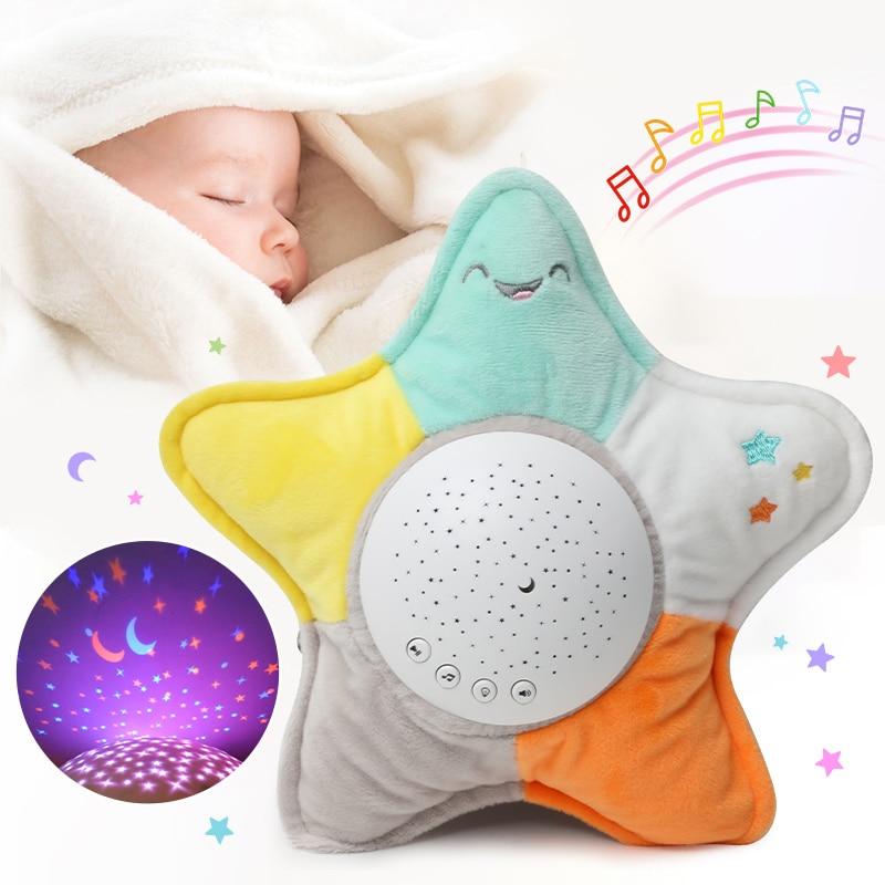 Kids Soft Toys Stuffed Sleep Led Night Lamp Stuffed Animal Plush Toys With Music & Stars Projector Light Baby Toys For Girls Boy