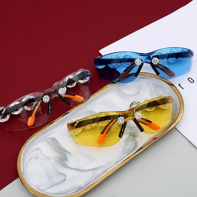 Crystral Sunglasses Women Men Fashion Personlity Windshield UV Protection Blu Yellow UV400 Mirror Feminino De Sol Gafas 6