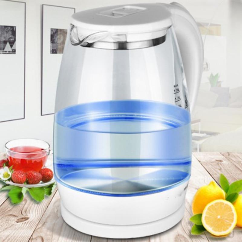 1.8L Electric Kettle Teapot Quick Heating Hot Water Boiling Tea Pot Glass Blue Light Heating Kettles Auto-Power Off Boiler