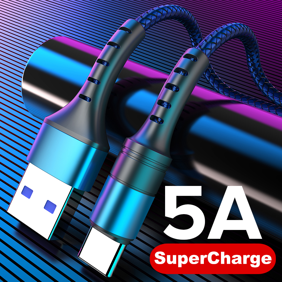 5A USB Type C Cable 0.25m 1m 2m Fast Charging Type-C Kable For Huawei P30 P20 Mate 20 Pro Phone SuperCharge QC3.0 USBC Cabo