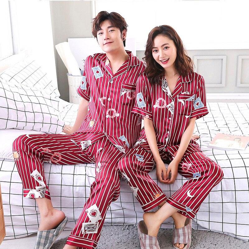 FZSLCYIYI Couple Faux Silk Satin Playing Cards Striped Print Pajamas Set 2 Pcs Summer Short Sleeve Sleepwear Pajamas Suit Pyjama