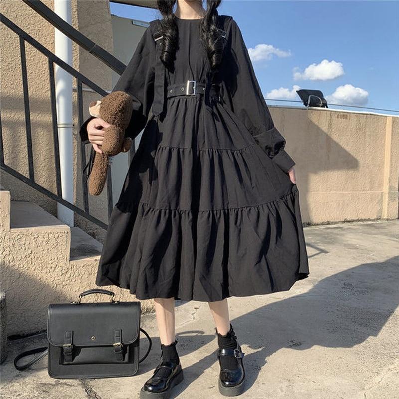 QWEEK Gothic Style Dress Women Harajuku Gothic Lolita Kawaii Dress Punk Cute Long Sleeve Black Midi Dress 2021 Emo Mall Goth 6