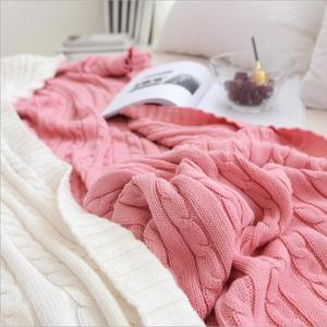 Image 1 - 솔리드 컬러 담요 침대 커버 소프트 던지기 담요 침대보 침구 니트 담요 에어 컨디셔닝 편안한 잠자는 침대 커버