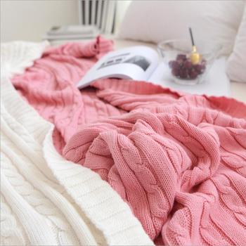 Jednokolorowe koce łóżka okładka miękki rzut koc na łóżko pościel dzianinowy koc klimatyzacja wygodne śpiące narzuty tanie i dobre opinie 100 bawełna Anty-pilling Stałe Lato Z wełny Jakość wigaihlzlkkaj884654 Gładkie barwione MEDITERRANEAN Dzianiny Prostokąt