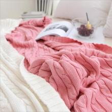 Solid Color Blankets Beds Cover Soft Throw Blanket Bedspread Bedding Knitted Blanket Air Conditioning Comfy Sleeping Bedspreads