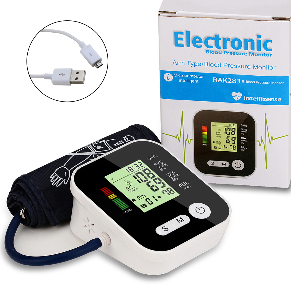 Electric Blood Pressure Monitor Tonometer Medical Equipment Arm Apparatus for Measuring Pressure Heart Beat Meter Machine image
