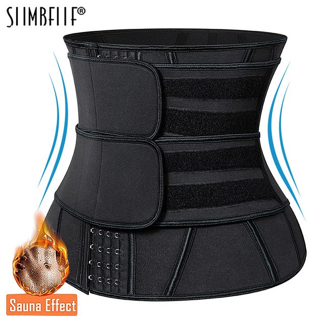 Black Slimming Belt Waist Trainer Corset Sauna Sweat Faja Sport Girdles Shaper Lumbar Trimmer Straps Modeling Women Shapewear