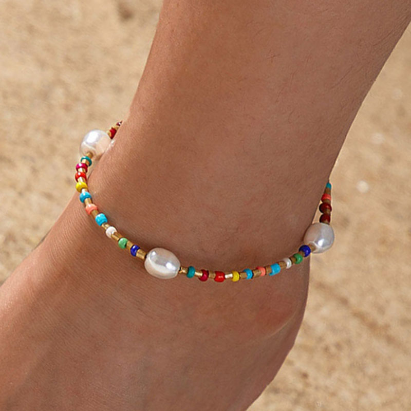 Yobest bohemian colorful beads Pearl Pendant Anklet Female Anklets Chain Ankle Bracelets for Women Beach Jewelry