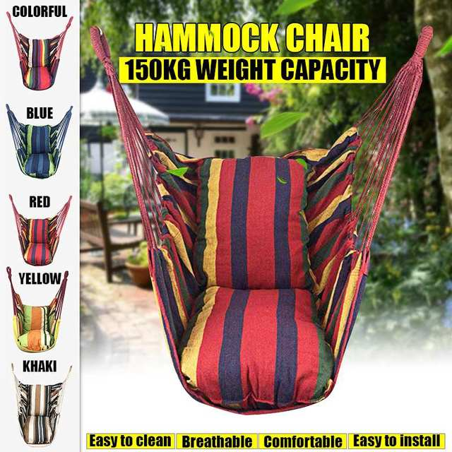 2 Pillow Hammock Hanging Rope Hammock Chair Swing Seat Large Hammock Chair Relax Hanging Swing Chair for Indoor Child Adult 2