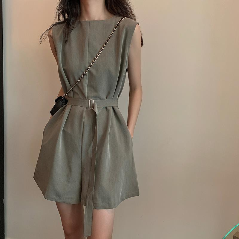 Women Summer High Waist Wide Leg Jumpsuit Overalls Shorts