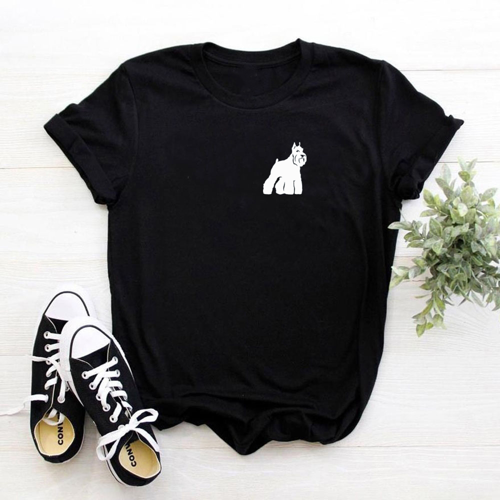 Funny Cute Schnauzer Print Cotton T Shirts For Women Dog Lovers Girlfriend Graphic Tees Summer Casual Female Tops