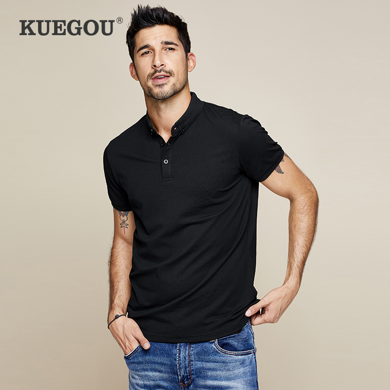 Kuegou Brand Men's Polo Shirt  With Short Sleeves   Clothing  Men Lapels Solid Color Polo Black Shirt Summer MT-2524
