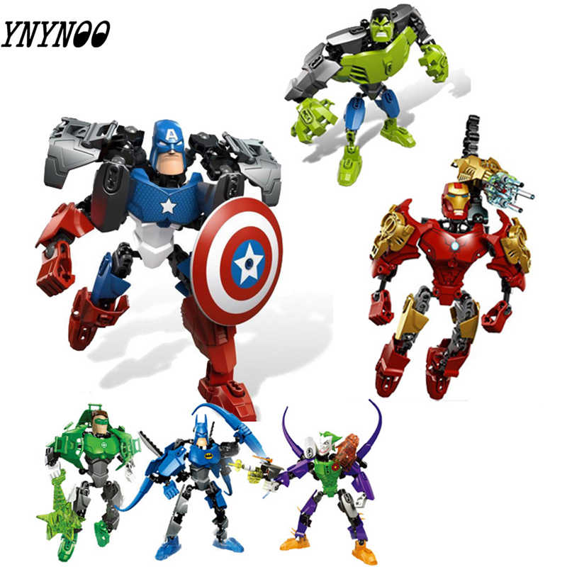 Marvel Series Iron Man Batman Captain America Avengers 4 Assembled Robot Model Compatible with LEGOings Toy Building Blocks gift