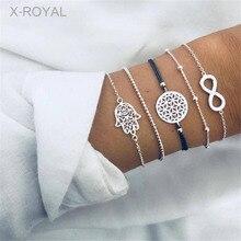 X-ROYAL 5Pcs/set European Style Creative Silver Color Fashion Bracelets Sets Hollow 8 Number Hand Shape Charm Women