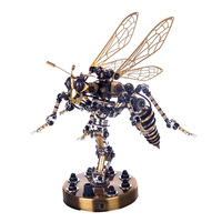 3D Stainless Steel Insects Puzzle Model Kit DIY Mechanical Wasp Assembly Jigsaw Crafts Model Building Toys Hobbies Gifts