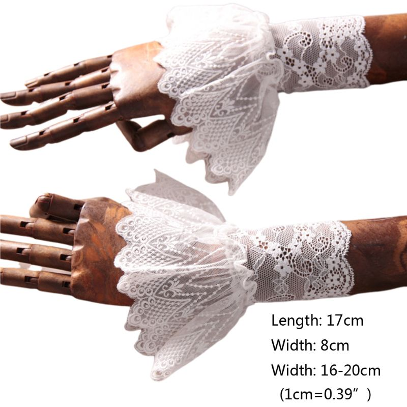 2020 New Women Lotus Leaf Fake Sleeve Floral Lace Pleated Ruffles Horn Cuffs Wrist Warmer