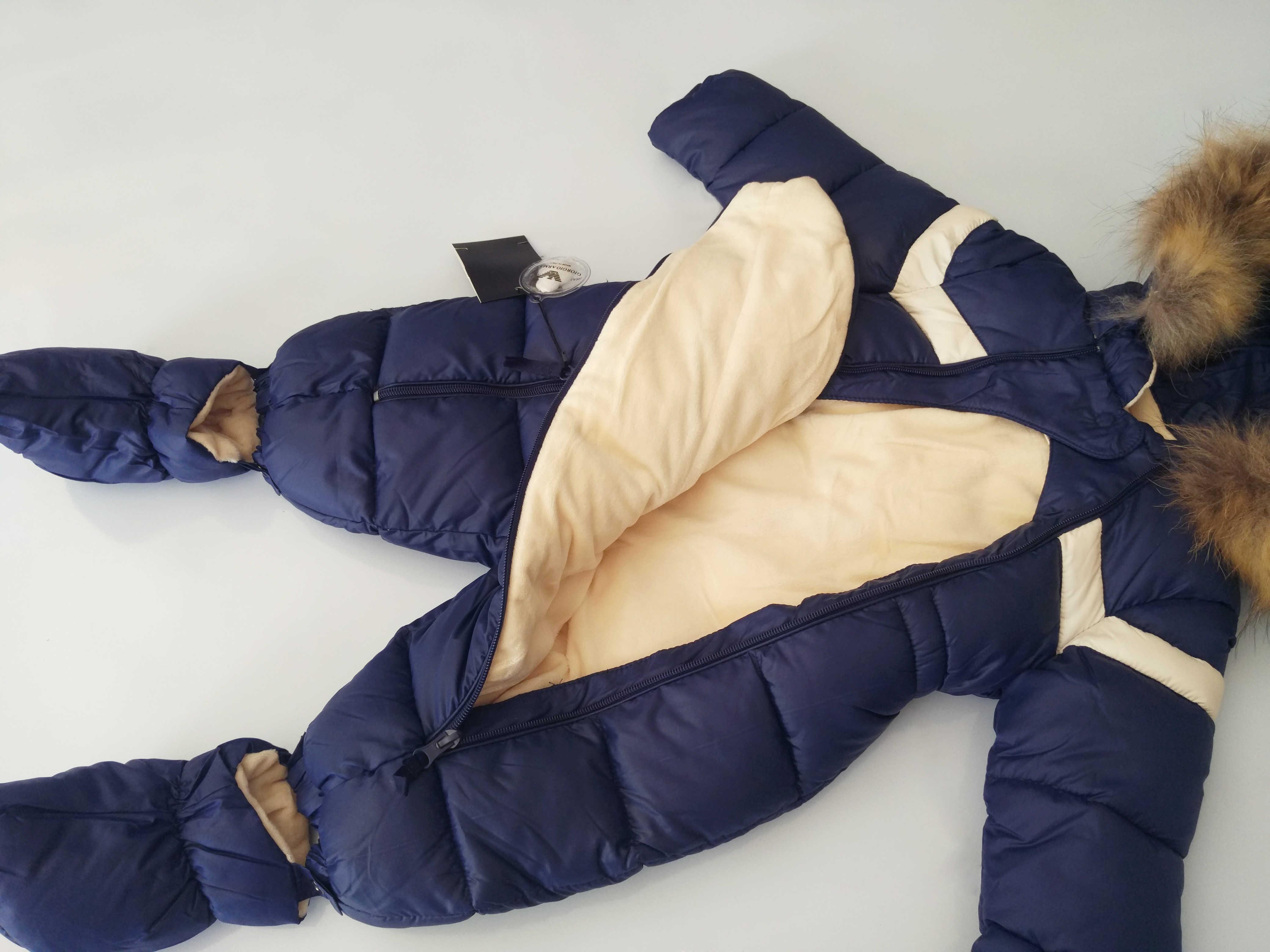 חורף תינוק ילד Bodysuits בגדי טבעי פרווה מותג תינוקות שלג בגדי ברדס פעוט של מקשה אחת סרבל בגדי מתנה