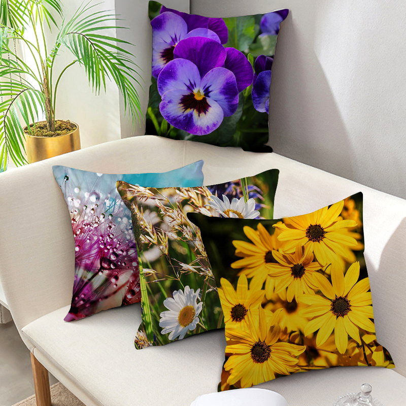 Купить nanacoba чехлы на подушки с цветком хризантемы лавандовая подушка