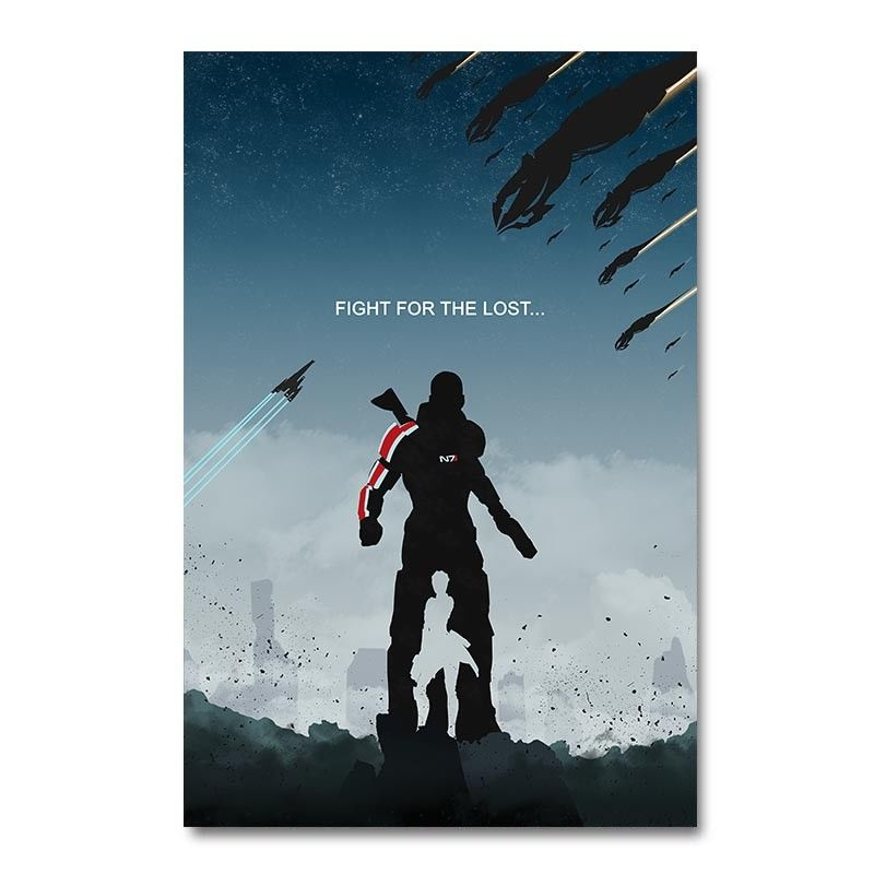 Mass Effect 2 3 4 Game Silk Cloth Poster Art Bedroom Decoration image
