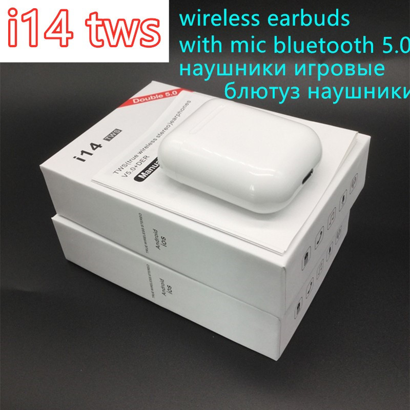 <font><b>i14</b></font> <font><b>TWS</b></font> Bluetooth 5.0 Wireless Earphones Headsets Earbuds With Charge Box For ecouteur iphone 7 Samsung Xiaomi Huawei LG honor image