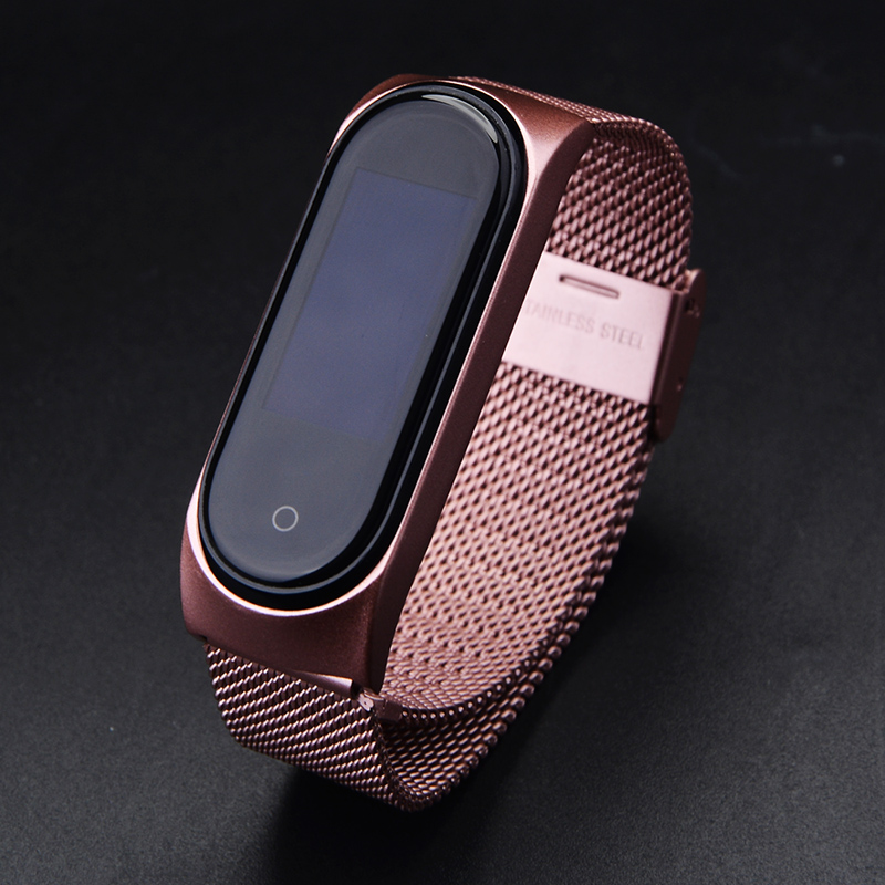 Mi Band 3 4 Strap Rose Gold Screwless Stainless Steel Bracelet Strap Wristband Miband3 Pulseira For Xiaomi Mi Band 3 Band4 Wrist