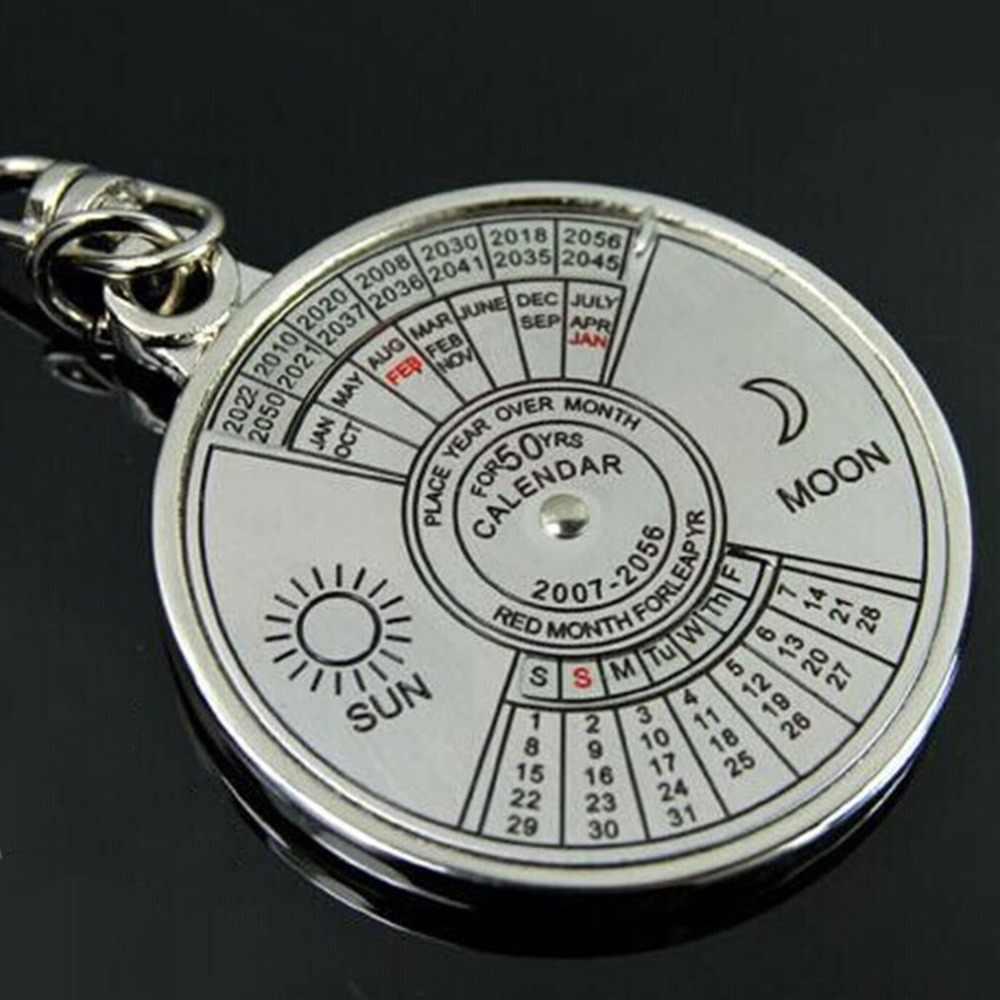 Mini modernas retro de aleación de Zinc de Super calendario perpetuo hecho de Metal clave cadena anillo 50 años llavero compañero Ideal