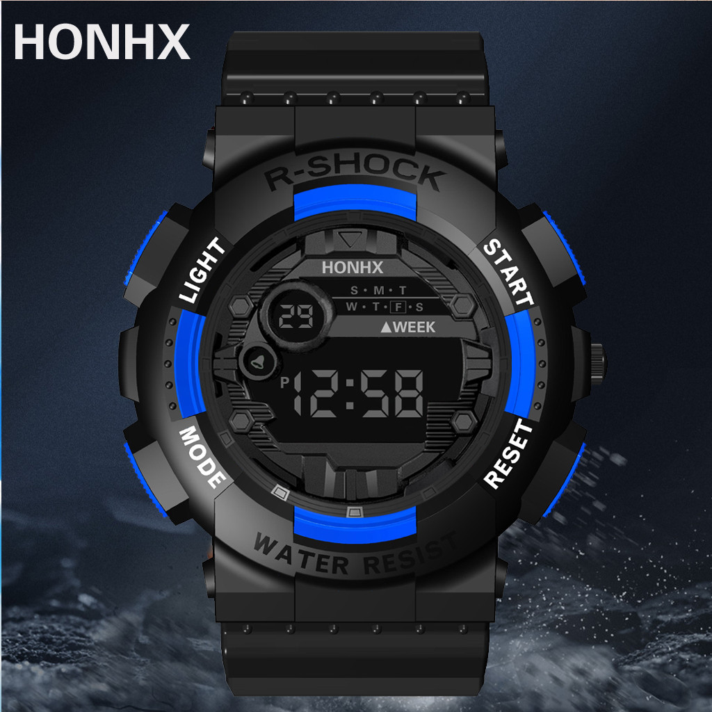 HONHX R-Shock Men's Digital Watch Auto Date  Waterproof Sport Style Electronic Watches Shock Resistant Back Light Freeship CN
