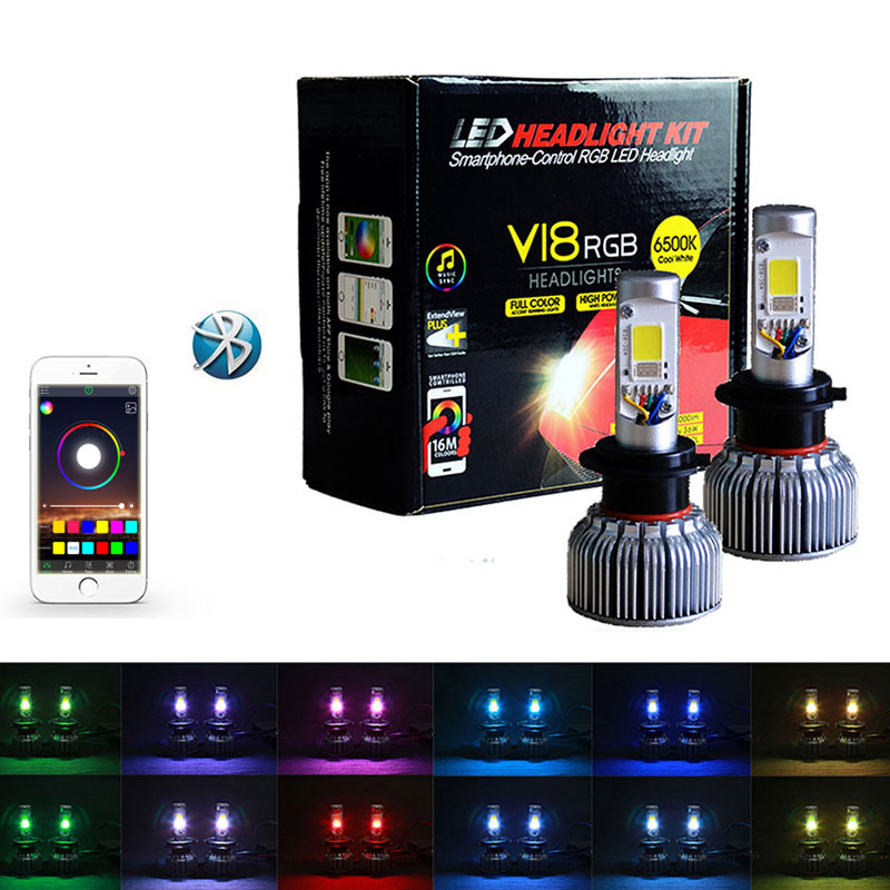 Car led headlight <font><b>rgb</b></font> color control by voice and music <font><b>rgb</b></font> lights with bluetooth controls <font><b>H4</b></font> 9004 9007 H13 car led image