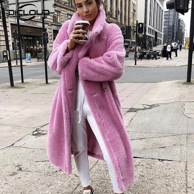 2019 Faux Lambswool Fur Coats Long Teddy Bear Jacket Coat Pink Women Winter Warm Oversized Outerwear Women Thick Overcoat