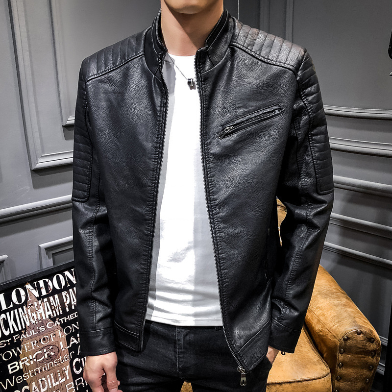 2019 New Style Men's Casual Leather Coat-Style Fashion Men Slim Fit Vertical PU Leather Joint Fashion-Abroad Hot Selling