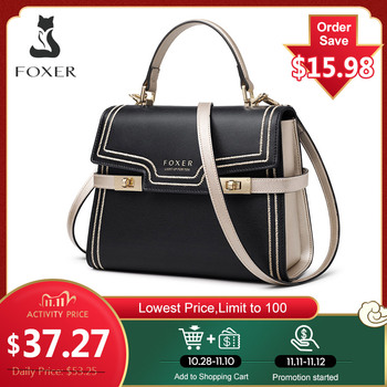 FOXER Women Crossbody Shoulder Bags Large Capacity Leather Messenger Bag Female Luxury Purse Stylish Lady Medium Handbag Totes foxer brands leather women handbags luxury totes new design women bag fashion lady messenger bags shoulder bag for female