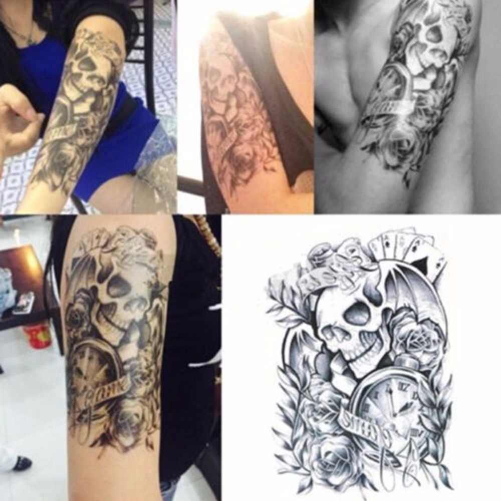 Nowa duża seksowna czarna zdejmowana wodoodporna tymczasowa tatuaż czaszka tymczasowe Body Arm naklejki tatuaże do ciała Tatto