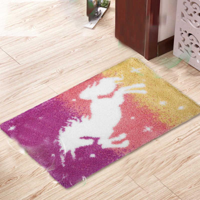 Motifs de bande dessinée loquet crochet matériel broderie tapis cheval loquet crochet tapis Kits Segment broderie inachevé faites-le vous-même