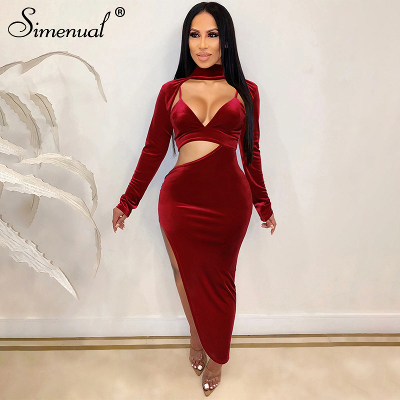 Simenual Hot Sexy Hollow Out Side Slit Party Dress Women Velvet Long Sleeve Solid Skinny Bodycon Maxi Dresses Female Clubwear