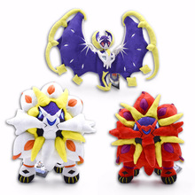 3 Style Cartoon Sun Moon Solgaleo Lunala Animal Stuffed Peluche Plush Toys Japanese Anime Red and White Figure Dolls