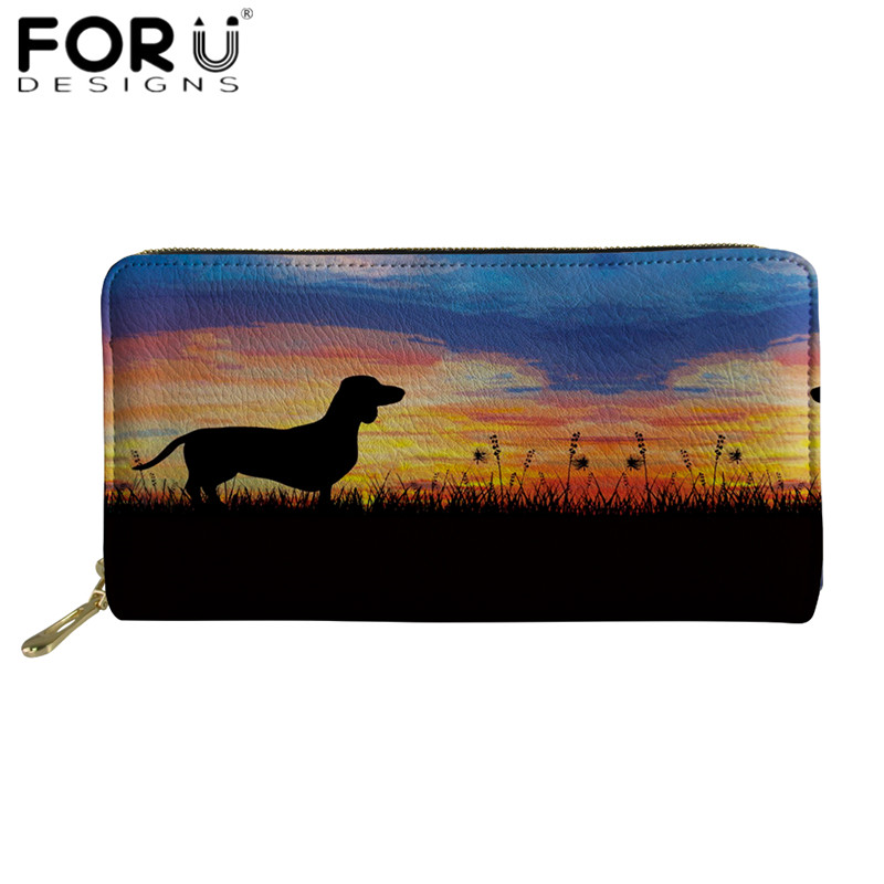 FORUDESIGNS Sketch Dachshund Pattern Leather Wallets Luxury Dog Design Party Clutch Bag For Ladies Zipper Phone Money Card Purse