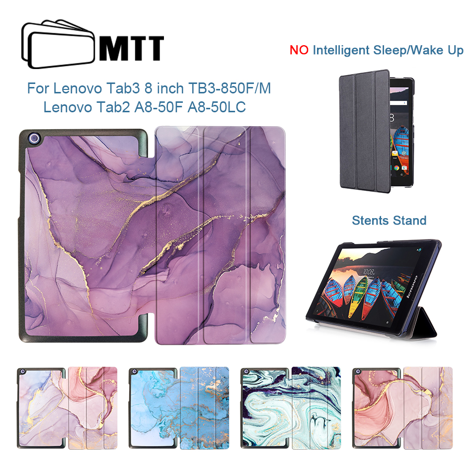 Galleria fotografica MTT Marble PU Leather Case For Lenovo Tab 3 8.0 inch TB3-850F TB3-850M Cover for Lenovo Tab 2 A8-50 A8-50F A8-50LC Tablet Funda