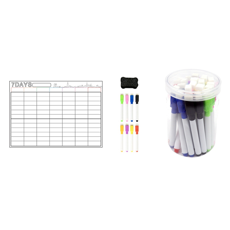 A3 Magnetic Whiteboard Dry Erase Calendar Set with 24 Pck of Erasable Whiteboard Pens