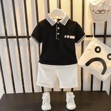 Toddler Boy Clothes Summer Two-piece Suit Kids Boy Lapel Top + Half Shorts 2021 New Short Sleeve Children Clothing Black White
