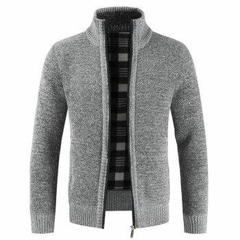 NEGIZBER 2019 Autumn Winter New Men's Jacket Slim Fit Stand Collar Zipper Jacket Men Solid Cotton Thick Warm Jacket Men