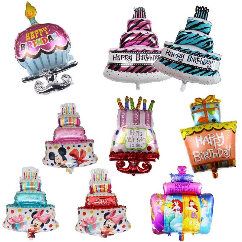 1pc grand gâteau joyeux anniversaire feuille ballons pour bébé enfants fête d'anniversaire décoration gonflable Air balles dessin animé chapeau